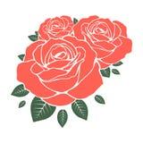 Schablone von Rosen Auch im corel abgehobenen Betrag Stockbild