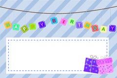 Schablonen-Baby-Geburtstags-Gruß-Karte Stockbilder