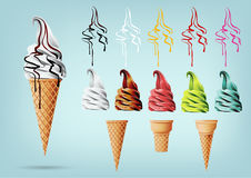 Schablonen-bunte Eiscreme im Kegel, verschiedene Aromen, Vektor Lizenzfreies Stockbild