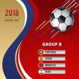 Schablonen-Design der Fußball-Schalen-Meisterschafts-Gruppen-B Stockfoto