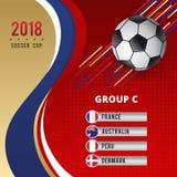Schablonen-Design der Fußball-Schalen-Meisterschafts-Gruppen-C Stockfoto