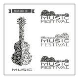 Schablonen-Design eingestellt: Akustisches Musik-Festival Stockbild