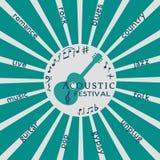 Schablonen-Design-Plakat: Akustisches Musik-Festival Lizenzfreie Stockfotografie