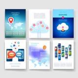schablonen Design-Satz Netz, Post, Broschüren Stockfoto