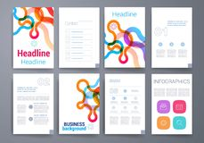schablonen Design-Satz Netz, Post, Broschüren Stockfotografie