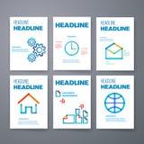 schablonen Design-Satz Netz, Post, Broschüren Lizenzfreie Stockfotos