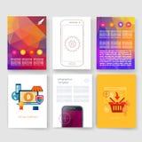 schablonen Design-Satz Netz, Post, Broschüren Stockbild