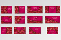 Schablonen eingestellt Visitenkarten, Einladungen und Fahnen Stockfotos