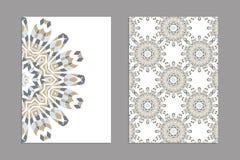 Schablonen für den Gruß und Visitenkarten, Broschüren, Abdeckungen mit Blumenmotiven Stockbild