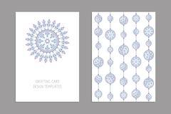 Schablonen für den Gruß und Visitenkarten, Broschüren, Abdeckungen mit Blumenmotiven Orientalisches Muster mandala Hochzeitseinla Stockfotografie