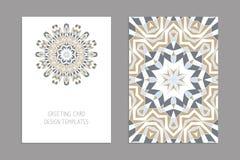 Schablonen für den Gruß und Visitenkarten, Broschüren, Abdeckungen mit Blumenmotiven Orientalisches Muster mandala Stockfotografie