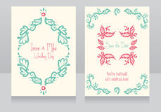 Schablonen für schöne Hochzeitskarten vektor abbildung