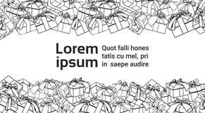 Schablonen-Fahne für Kopien-Raum mit Hand gezeichneten Präsentkartons auf Hintergrund vektor abbildung