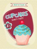Schablonen-, Fahnen-, Flieger-oder Menü-Kartendesign des kleinen Kuchens Lizenzfreies Stockfoto