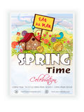 Schablonen-, Fahnen- oder Fliegerdesign für Frühlingszeit Lizenzfreies Stockbild