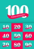 Schablonen-Logo Anniversary Collection Set Vector-Illustration Stockfotografie