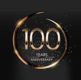 Schablonen-Logo 100 Jahre Jahrestags-Vektor-Illustrations- lizenzfreie abbildung