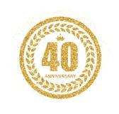 Schablonen-Logo 40 Jahre Jahrestags-Vektor-Illustrations- Stockbild