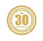 Schablonen-Logo 30 Jahre Jahrestags-Vektor-Illustrations- Lizenzfreie Stockfotos