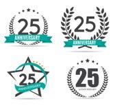 Schablonen-Logo 25 Jahre Jahrestags-Vektor-Illustrations- Lizenzfreies Stockfoto
