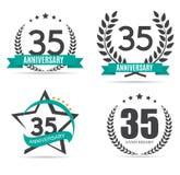 Schablonen-Logo 35 Jahre Jahrestags-Vektor-Illustrations- Lizenzfreies Stockbild