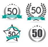 Schablonen-Logo 50 Jahre Jahrestags-Vektor-Illustrations- Stockbilder