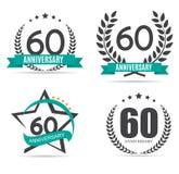 Schablonen-Logo 60 Jahre Jahrestags-Vektor-Illustrations- Stockfoto
