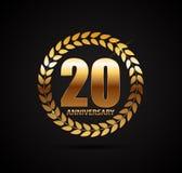 Schablonen-Logo 20 Jahre Jahrestags-Vektor-Illustrations- Lizenzfreie Stockbilder