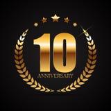 Schablonen-Logo 10 Jahre Jahrestags-Vektor-Illustrations- Stockbild