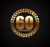 Schablonen-Logo 60 Jahre Jahrestags-Vektor-Illustrations- Lizenzfreie Stockfotografie