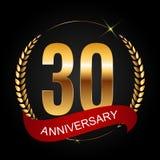 Schablonen-Logo 30 Jahre Jahrestags-Vektor-Illustrations- Lizenzfreie Stockbilder