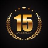 Schablonen-Logo 15 Jahre Jahrestags-Vektor-Illustrations- Lizenzfreies Stockbild