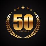 Schablonen-Logo 50 Jahre Jahrestags-Vektor-Illustrations- Stockfoto