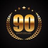 Schablonen-Logo 90 Jahre Jahrestags-Vektor-Illustrations- Lizenzfreies Stockbild