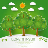Schablonen-Satz des grünen Waldes, Bäume und Büsche knallen oben Papierschnitt Lizenzfreies Stockfoto