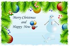Schablonen-Weihnachtsgrußkarte Lizenzfreies Stockbild