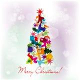 Schablonen-Weihnachtsgrußkarte, Vektor stock abbildung