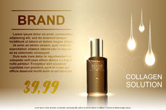 Schablonenanzeigen Kosmetik, Glasflaschentropfen des Wesentlichen ölen auf braunem Hintergrund Stock Abbildung