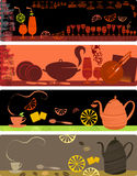 Schablonenauslegungen der Kaffeefahnen Lizenzfreie Stockbilder