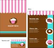 Schablonenauslegungen des Bäckerei- und Gaststättemenüs Lizenzfreie Stockfotos