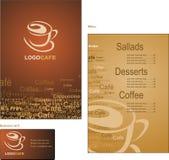 Schablonenauslegungen des Menüs und der Visitenkarte für cof Stockbilder
