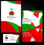 Schablonenauslegungen des Pizzamenüs Stockfotografie