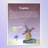 Schablonenbroschürenlandschaft mit Windmühlenvektorillustration Lizenzfreies Stockfoto