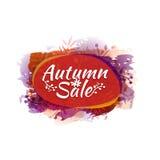 Schablonendesign färbte Herbstaufkleber, Logo, Aufkleber, Kupon Herbstrabatte, Verkauf, Förderungen, bietet an Vektor Lizenzfreies Stockfoto