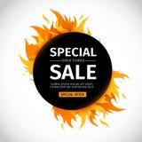 Schablonendesign-Kreisfahne mit Sonderverkauf Schwarze runde Karte für heißes Angebot mit Rahmenfeuergraphik bekanntmachen Stockfotos