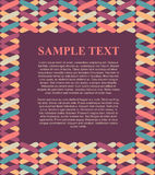 Schablonendesign-Textboxillustration mit buntem Musterrahmenhintergrund für Broschüre, Plakat, Menü usw. Stockfotos