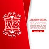 Schablonendesign Valentinsgrußfahne Glückliche Valentinsgruß ` s Tagesbroschüre mit Dekorationsrosaband für Verkauf Romantisches  Lizenzfreies Stockbild