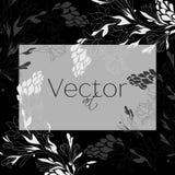 Schablonendesign, vector die Blumenkunst, Schwarzweiss Stockbild