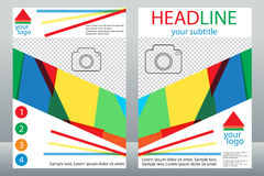 Schablonendesign von Broschüren mit Platz für Ihr Foto Eine Probe Stockfoto