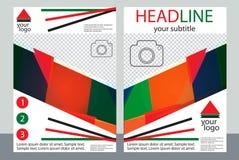 Schablonendesign von Broschüren mit Platz für Ihr Foto Eine Probe Stockfotos